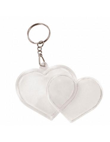 Porte-clé plastique coeur x2