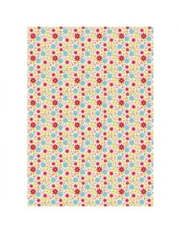 Tissu adhésif A4 fleurs folles