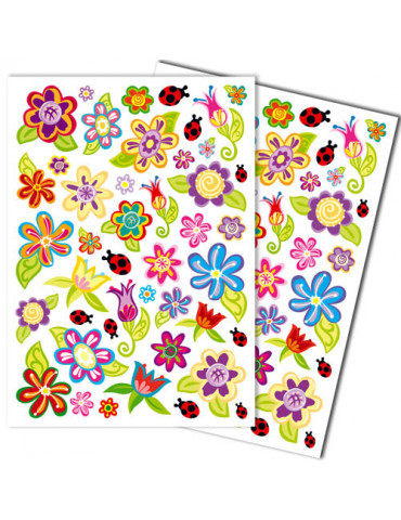 Gommettes GIRLY fleurs x42