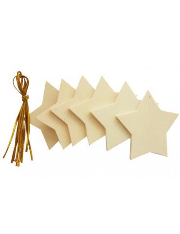 Etoiles en bois à suspendre x6