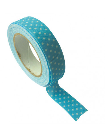 Ruban tissu adhésif bleu pois