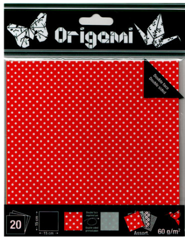 Papier origami Pois 15x15cm...