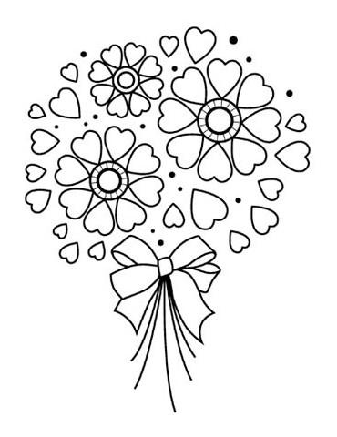 Tampon bois D - Bouquet coeurs