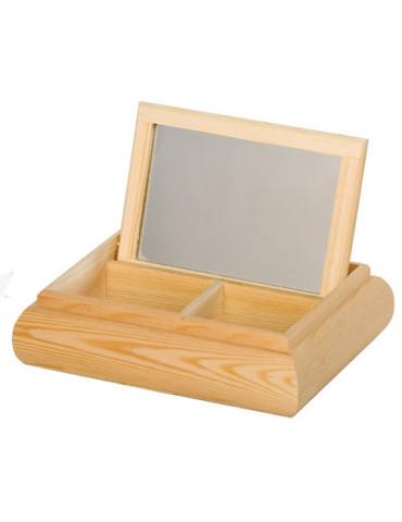 Boite bijoux bois avec miroir