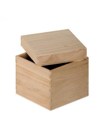 Boite cube bois 12cm