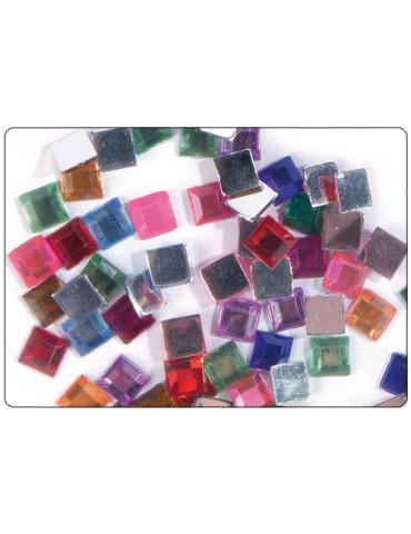 Strass carrés multicolores 6mm