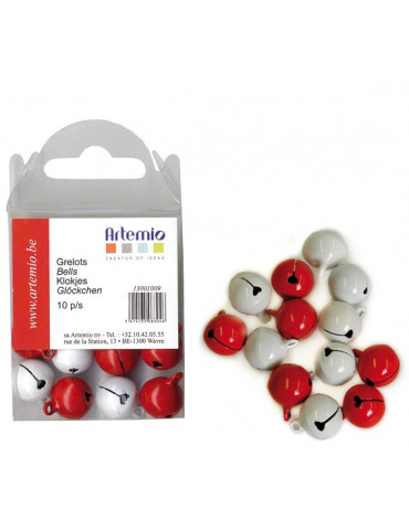 Grelots rouge/blanc 12mm x10