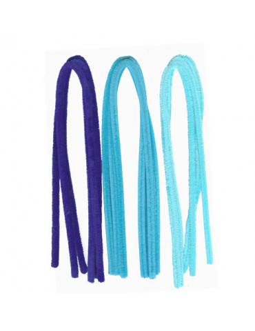 Fils chenille Mix bleu 8mm x10