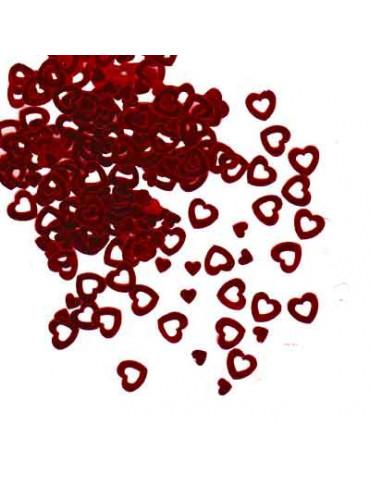 Paillettes grands coeurs rouge