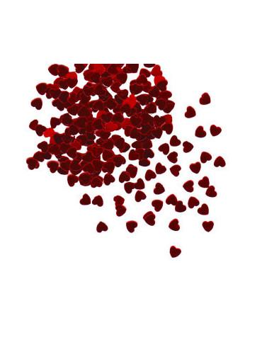 Paillettes petits coeurs rouge