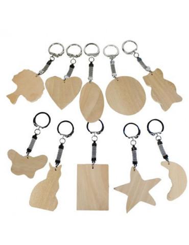 Porte-clés bois x10