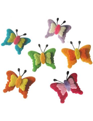 Papillons feutrine adhésive x6